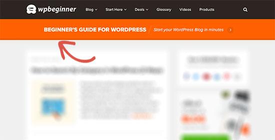 Header layout on WPBeginner website