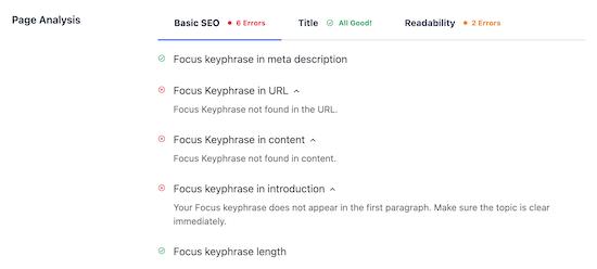 Page analysis basic SEO