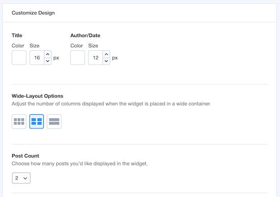 Popular posts additional display settings