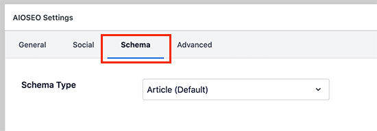 AIOSEO schema settings for posts and pages