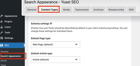 Site wide schema settings in Yoast