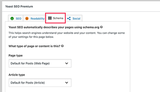 Changing schema markup for a post in Yoast SEO