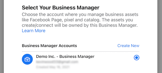 Select business manager account