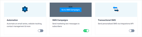 Switching on SMS campaigns in Sendinblue