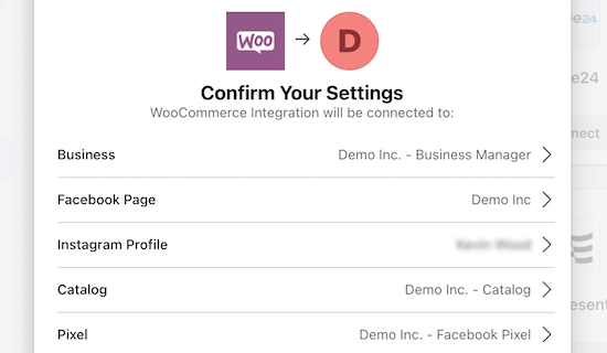Confirm Facebook and WooCommerce integration settings