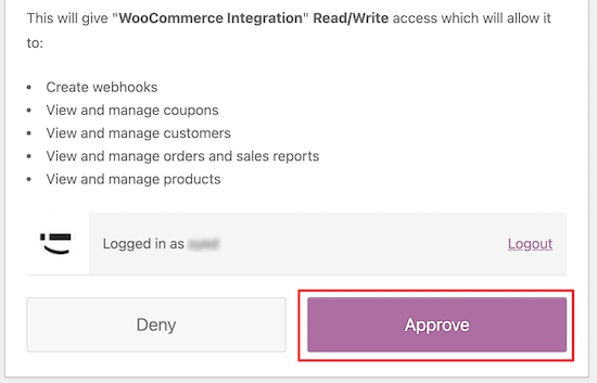 Give WooCommerce approval