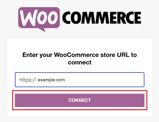 Enter WooCommerce store URL
