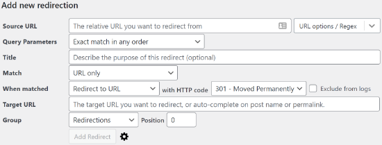 Add new redirection to your website