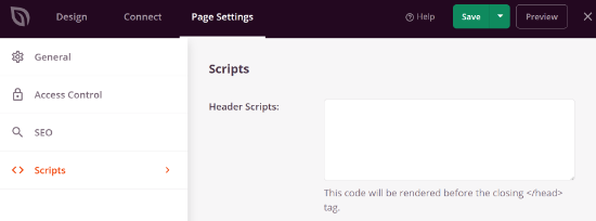 Add scripts to your landing page