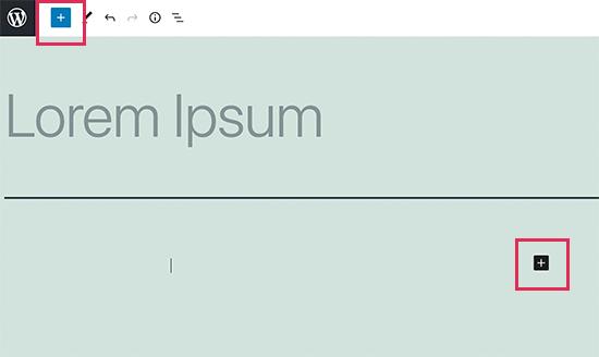 Addding a new block button in WordPress