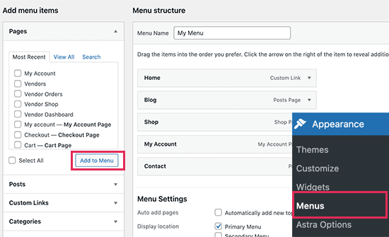 Add marketplace links to your navigation menu