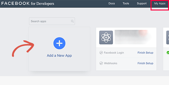 Add new Facebook app