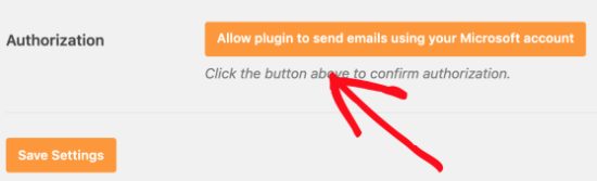 Allow the plugin to send emails using your Microsoft account