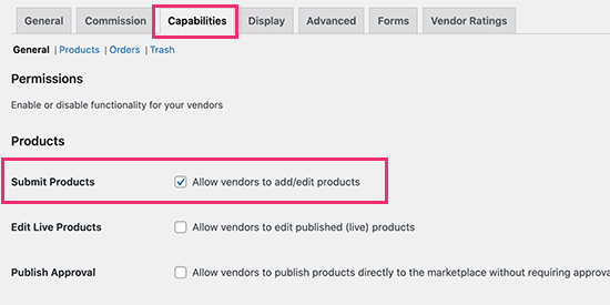 Allow vendors to add and edit products