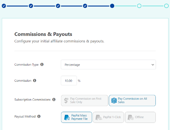 Choose a commission and payout type