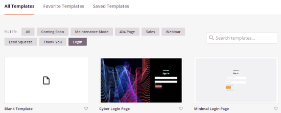 Choose a template for your login page
