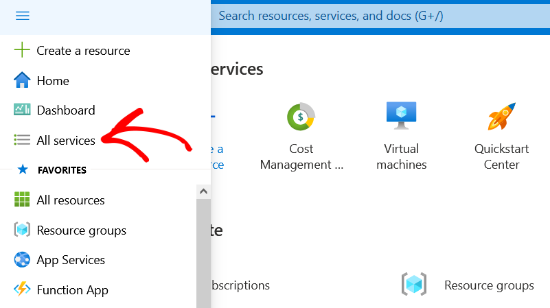 Click All Services option in Azure Portal