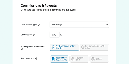 Commission and payout settings