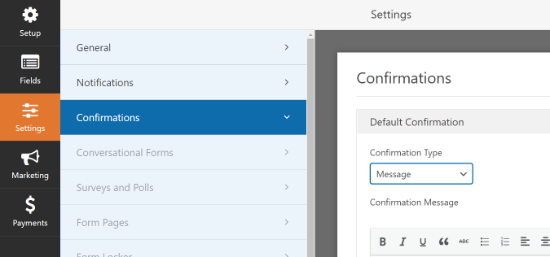 Confirmations settings in WPForms