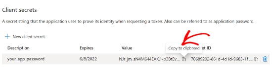 Copy the application password under the Value column