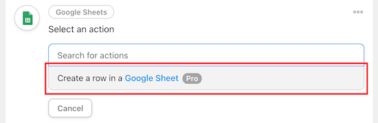 Create a row in Google Sheets