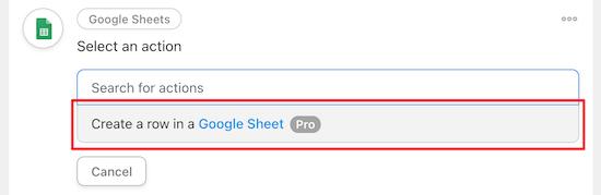 Create a row in Google Sheet