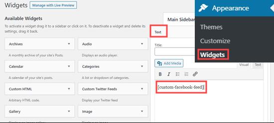 Adding a custom Facebook feed to a widget