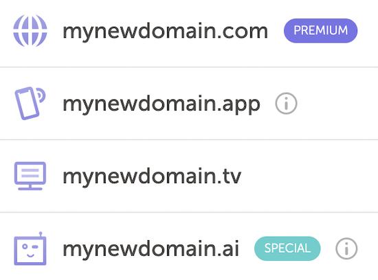 Domain name extension list sample