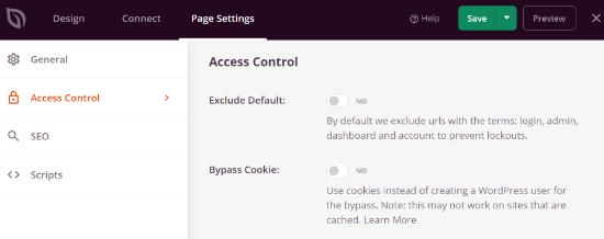 Edit Access Control settings