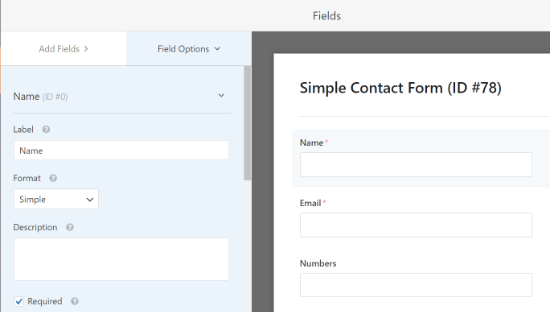Edit each fields label and format
