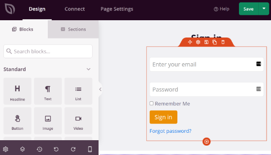 Edit your login page