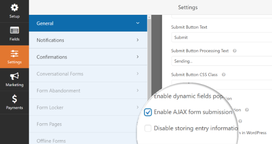 Enable AJAX Form Submissions