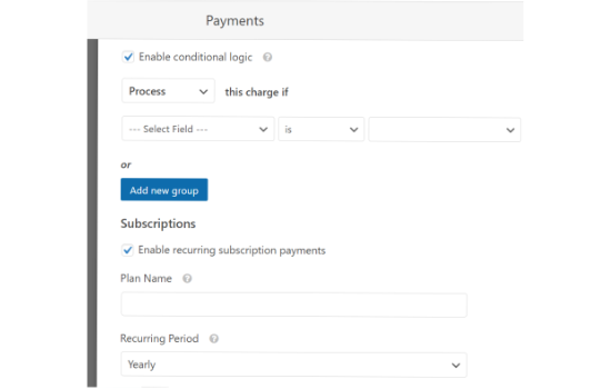 Enable conditional logic and recurring payments