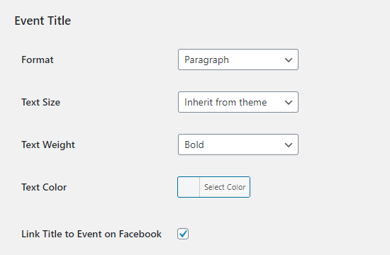 Changing the settings for the titles of your events