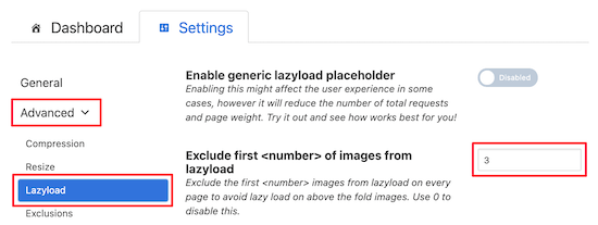 Exclude images to lazy load