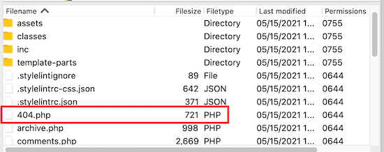 FTP 404.php file