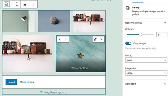 Adding image gallery block