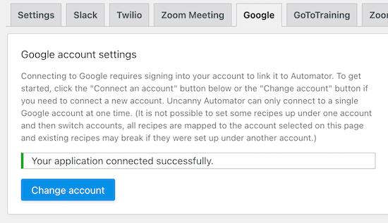 Google Account connection success