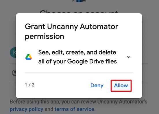 Grant Google account permission