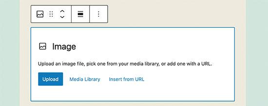 Adding an image block in WordPress