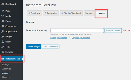 Adding your Instagram Feed license