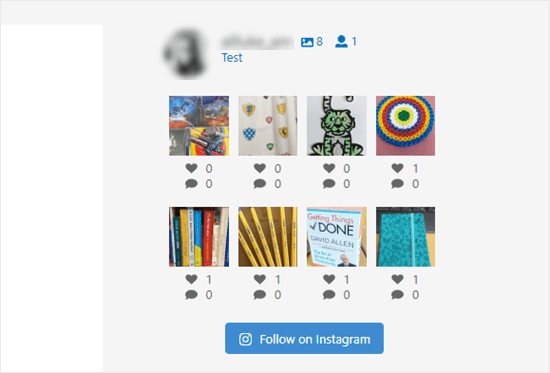 The Instagram photos in the sidebar without captions