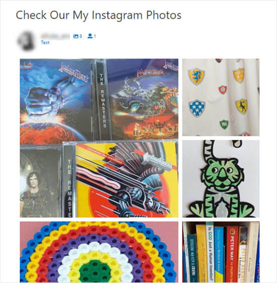 The Instagram photos on the site, arranged in a Highlight layout