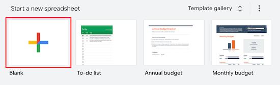 New Google spreadsheet