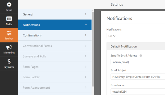 Notification settings in WPForms
