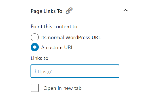 Page Links to in WordPress editor