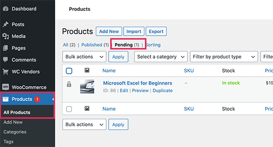 Pending products