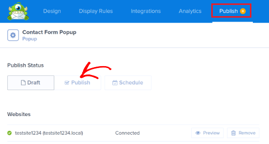 Publish your contact form popup