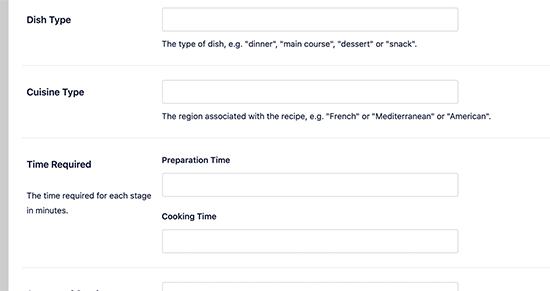 Recipe schema meta data