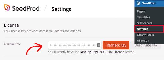 Enter SeedProd license key